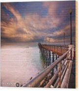 Long Exposure Sunset At The Oceanside Wood Print