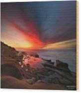 Long Exposure Sunset In La Jolla Wood Print