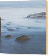 Long Exsposure Of Rocks And Waves At Sunset Maine Wood Print