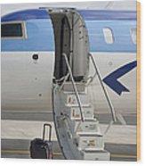 Luggage Near Airplane Steps Wood Print by Jaak Nilson