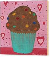 M And M Cupcake Wood Print