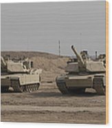 M1 Abrams Tank At Camp Warhorse Wood Print