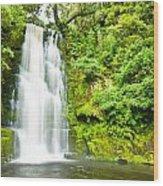 Mac Lean Falls In The Catlins Wood Print