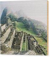 Machu Picchu In The Fog Wood Print