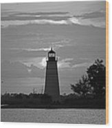 Madisonville Lighthouse Sunset Wood Print