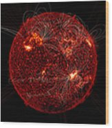 Magnetic Field Lines On The Sun Wood Print