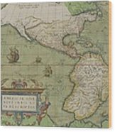 Map Of North And South America Wood Print