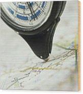 Map Wheel Wood Print by Steve Horrell