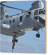 Marines Fast Rope From A Ch-46 Sea Wood Print