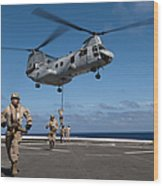 Marines Fast Rope On To The Flight Deck Wood Print