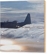 Mc-130p Combat Shadow Dropping Flares Wood Print