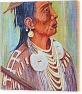 Medicine Crow-warrior Wood Print by Janna Columbus