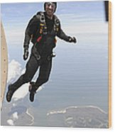 Member Of The U.s. Army Golden Knights Wood Print
