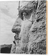Men Working On Mt. Rushmore Wood Print