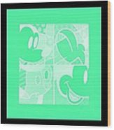 Mickey In Negative Light Green Wood Print