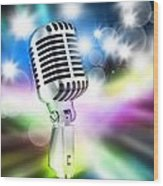 Microphone On Stage Wood Print