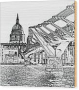 Millenium Bridge And St Pauls Wood Print
