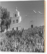 Mission San Diego De Alcala Monochrome Wood Print