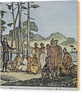 Missionary And Native Americans Wood Print
