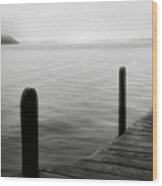 Mist On The Lake Wood Print by Steven Ainsworth
