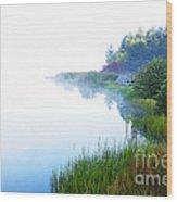 Misty Morning Big Ditch Lake Wood Print