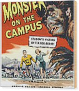 Monster On The Campus, Arthur Franz Wood Print by Everett