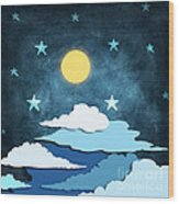 Moon And Stars Wood Print