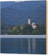 Moon Setting At Sunrise Over Island Church At Lake Bled Wood Print