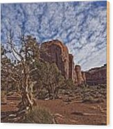 Morning Clouds Over Monument Valley Wood Print by Robert Postma