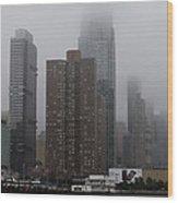 Morning Fog In New York City Wood Print