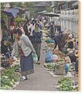 Morning Market In Luang Prabang Wood Print