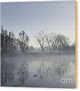 Mountain And Trees Reflected In A Foggy Lake Wood Print