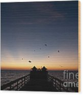 Naples Pier Sunset Wood Print