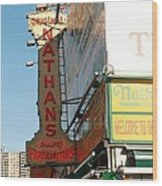 Nathan's Famous At Coney Island  Wood Print
