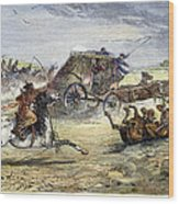 Native American Attack On Coach Wood Print