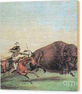 Native American Indian Buffalo Hunting Wood Print