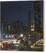 Navy Pier At Night Wood Print