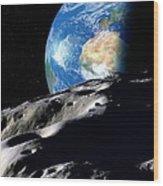 Near-earth Asteroid, Artwork Wood Print by Detlev Van Ravenswaay