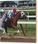 Neck And Neck At Saratoga One Wood Print