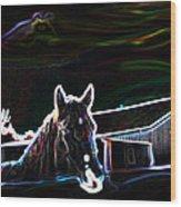 Neon Horse Wood Print