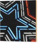 Neon Star Wood Print