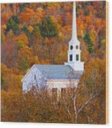 New England Church In Autumn Wood Print