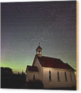 Night Church Northern Lights Wood Print