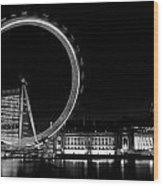Night Image Of The London Eye And River Thames  Wood Print