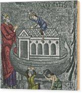 Noah Building The Ark Wood Print
