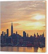 Ny Skyline Sunrise Gold Wood Print