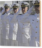 Officers Render Honors During A Change Wood Print by Stocktrek Images