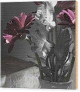 Pink Gerbera Floral Still Life Wood Print