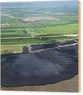 Oil Plant Settling Pond Wood Print by David Nunuk