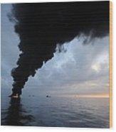Oil Spill Burning, Usa Wood Print